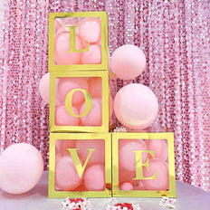 2pcs Transparent DIY Balloon Boxes, Baby Shower Party Decoration Boxes Metallic Gold Edges
