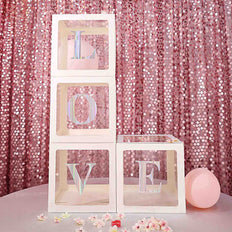 2pcs Transparent DIY Balloon Boxes, Baby Shower Party Decoration Boxes White Edges