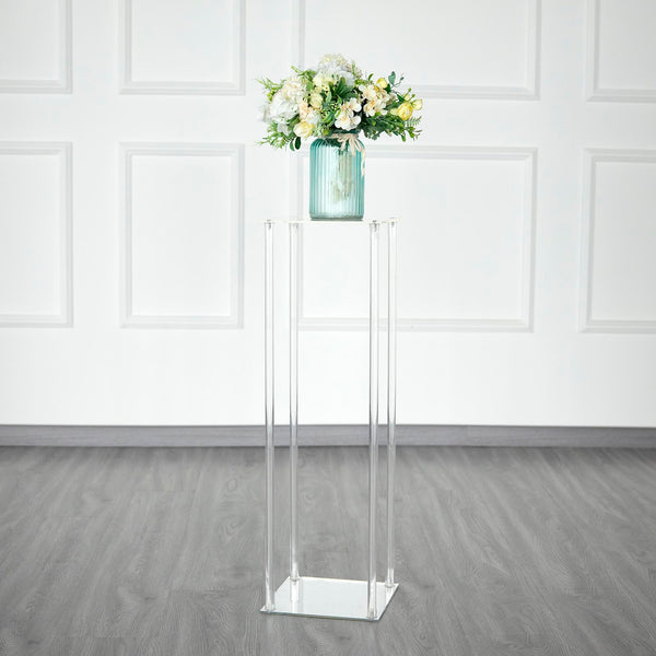 "32"" Clear Acrylic Floor Vase Flower Stand With Mirror Base, Wedding Column"