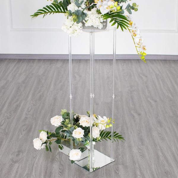 "40"" Clear Acrylic Floor Vase Flower Stand With Mirror Base, Wedding Column"