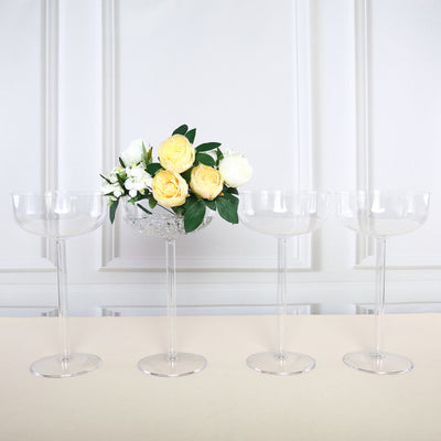 "4 Pack | 18"" Long Stem Martini Flower With Fillable Stem Clear Plastic Centerpieces Vases"