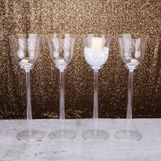 "4 Pack | 18"" Cup Flower Fillable Stem Clear Plastic Centerpiece Vases"