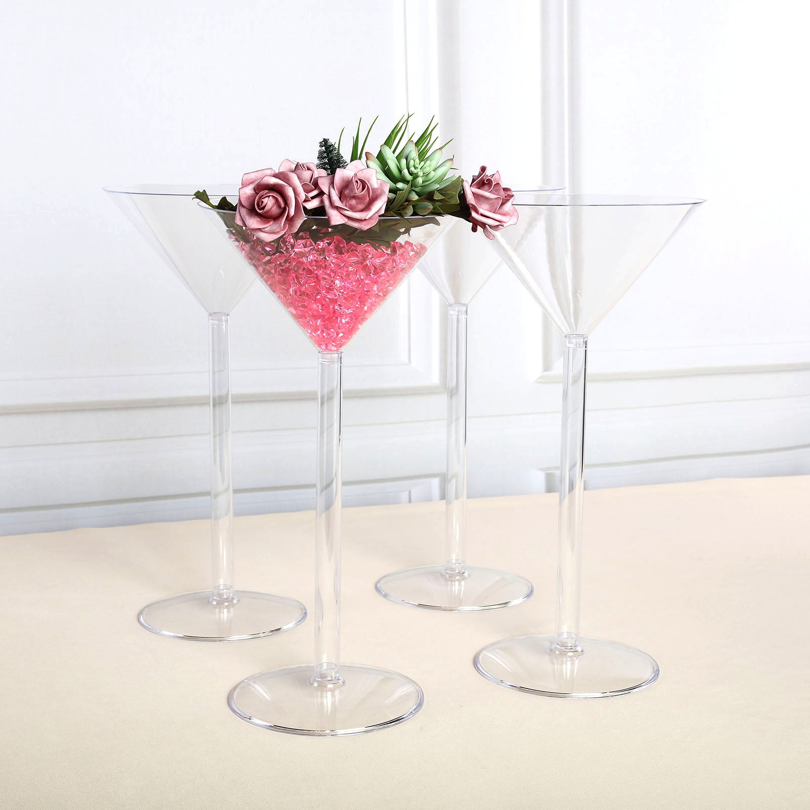 4 Pack 18 Martini Flower Vase With Fillable Stem Tablecloths