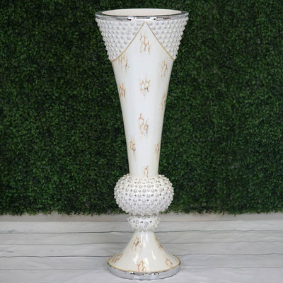 "43"" Large Peal Embellished White Trumpet Vase With Mirror Mosaic Decoration"