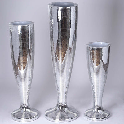 "32"" Sparkling Silver Mirror Mosaic Vase Polystone Columns For Wedding Event Party Home Decoration - Set of 4"