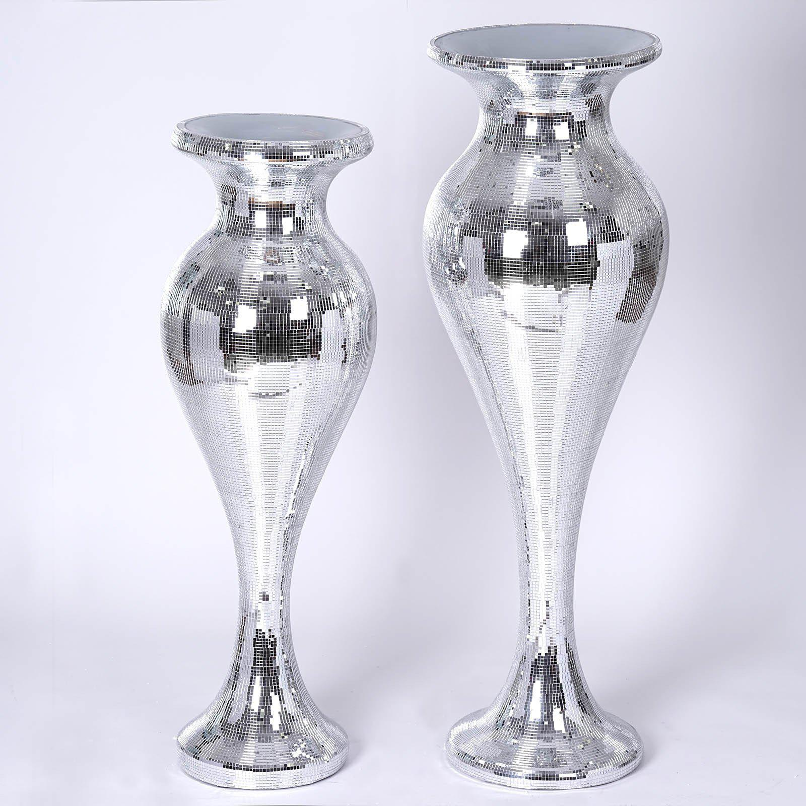 42 silver mirror mosaic polystone floor vase wedding aisle prop 42 sparkling silver mirror mosaic polystone vase columns for wedding event party home decoration reviewsmspy