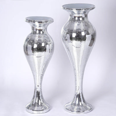 "42"" Sparkling Silver Mirror Mosaic Polystone Vase Columns For Wedding Event Party Home Decoration - Buy One Get One Free"