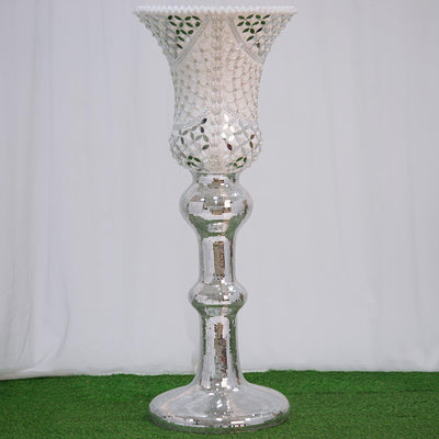 "48"" Pearls and Diamond Accented Trumpet Vase with Mirror Mosaic and Glass Marquise"