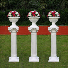 4 Pack | 34inch Tall | White PVC | Height Adjustable Roman Inspired | Pedestal Column Plant Stand