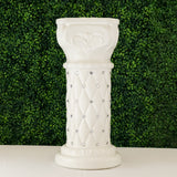 2 Pack | 25 inch Tall White PVC | 10mm Crystal Beaded Studded French Inspired Pedestal Column Stand