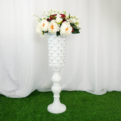 32inch Tall White PVC | 10mm Crystal Studded French Inspired Column Pedestal Plant Stand Pot