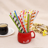 "25 Pack | 8"" White/Red Pop and Lock Paper Disposable Straws"