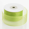 "25 Yard 1.5"" DIY Apple Green Organza Ribbon With Mono Satin Edge"