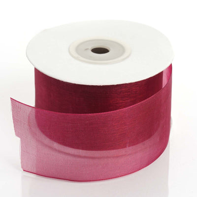 "25 Yard 1.5"" DIY Burgundy Organza Ribbon With Mono Satin Edge For Craft Dress Wedding"
