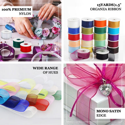 "25 Yard 1.5"" DIY Fushia Organza Ribbon With Mono Satin Edge - Clearance SALE"