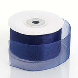 "25 Yard 1.5"" DIY Navy Blue Organza Ribbon With Mono Satin Edge"