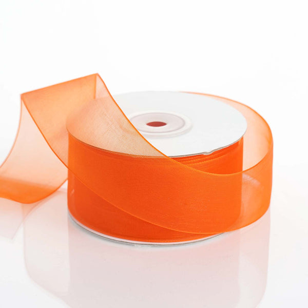 "25 Yard 1.5"" DIY Orange Organza Ribbon With Mono Satin Edge"
