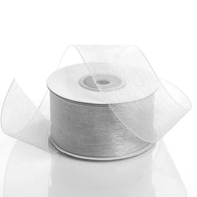 "25 Yard 1.5"" DIY Silver Organza Ribbon With Mono Satin Edge"