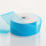 "25 Yard 1.5"" DIY Turquoise Organza Ribbon With Mono Satin Edge"