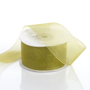 "25 Yard 1.5"" DIY Moss/Willow Organza Ribbon With Mono Satin Edge For Craft Dress Wedding"
