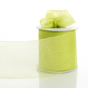 "25 Yards 3"" Apple Green Organza Ribbon With Satin Edges For Wedding Decoration"