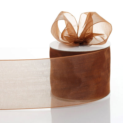 "25 Yards 3"" Chocolate Organza Ribbon With Satin Edges For Wedding Decoration"