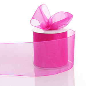 "25 Yards 3"" Fushia Organza Ribbon With Satin Edges For Wedding Decoration"
