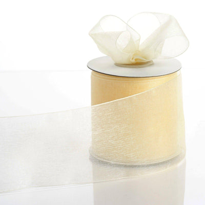 "25 Yards 3"" Ivory Organza Ribbon With Satin Edges For Wedding Decoration"