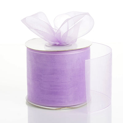 "25 Yards 3"" Lavender Organza Ribbon With Satin Edges For Wedding Decoration"
