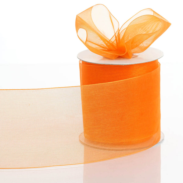 "25 Yards 3"" Orange Organza Ribbon With Satin Edges For Wedding Decoration - Clearance SALE"