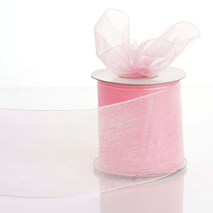"25 Yards 3"" Pink Organza Ribbon With Satin Edges For Wedding Decoration"