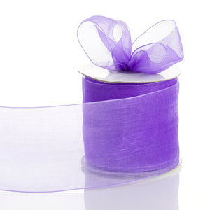 "25 Yards 3"" Purple Organza Ribbon With Satin Edges For Wedding Decoration"