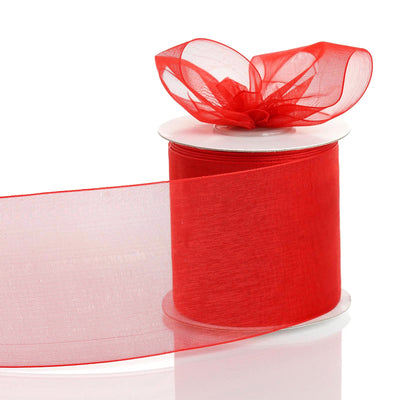 "25 Yards 3"" Red Organza Ribbon With Satin Edges For Wedding Decoration"