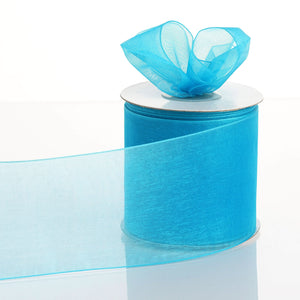 "25 Yards 3"" Turquoise Organza Ribbon With Satin Edges For Wedding Decoration"