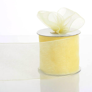 "25 Yards 3"" Yellow Organza Ribbon With Satin Edges For Wedding Decoration"