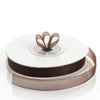 3/8 Inch Organza Ribbon | Chocolate Satin Edge | TableclothsFactory