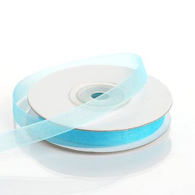 "25 Yard 3/8""DIY Turquoise Organza Ribbon With Satin Edges"