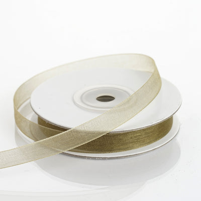 "25 Yards | 3/8"" DIY Moss Green Organza Ribbon With Satin Edge"