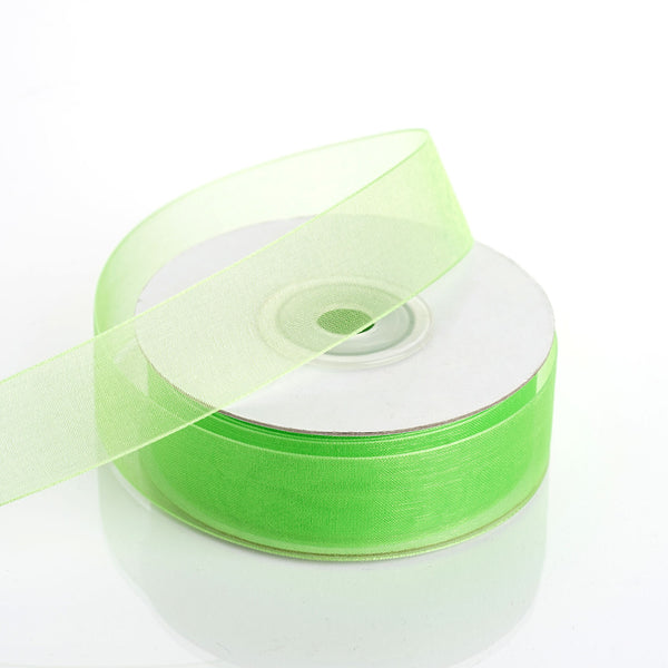 "25 Yard 7/8"" DIY Apple Green Organza Ribbon With Mono Edge - Clearance SALE"