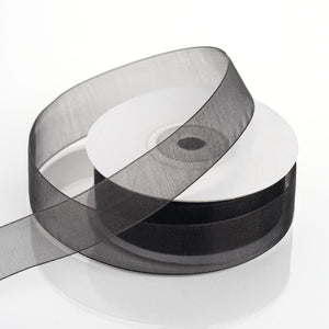 "25 Yard 7/8"" DIY Black Organza Ribbon With Mono Edge"