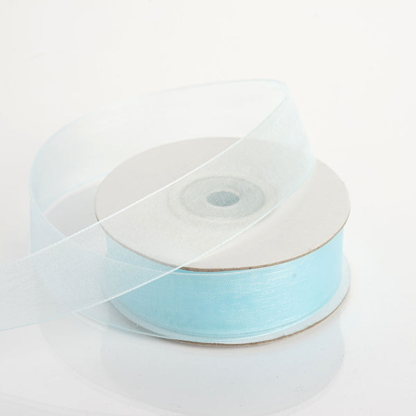 "25 Yard 7/8"" DIY Baby Blue Organza Ribbon With Mono Edge"