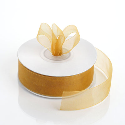 "25 Yard 7/8"" DIY Gold Organza Ribbon With Mono Edge"