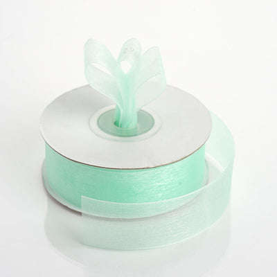"25 Yard 7/8"" DIY Mint Organza Ribbon With Mono Edge"