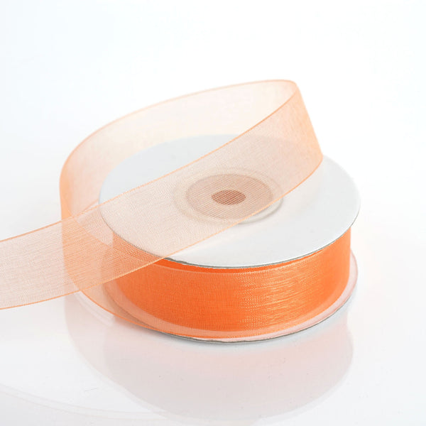 "25 Yard 7/8"" DIY Orange Organza Ribbon With Mono Edge"