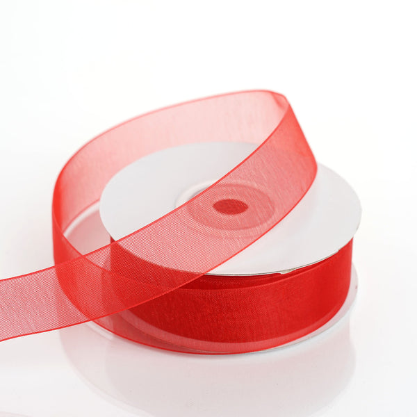 "25 Yard 7/8"" DIY Red Organza Ribbon With Mono Edge"