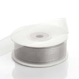 "25 Yard 7/8"" DIY Silver Organza Ribbon With Mono Edge"