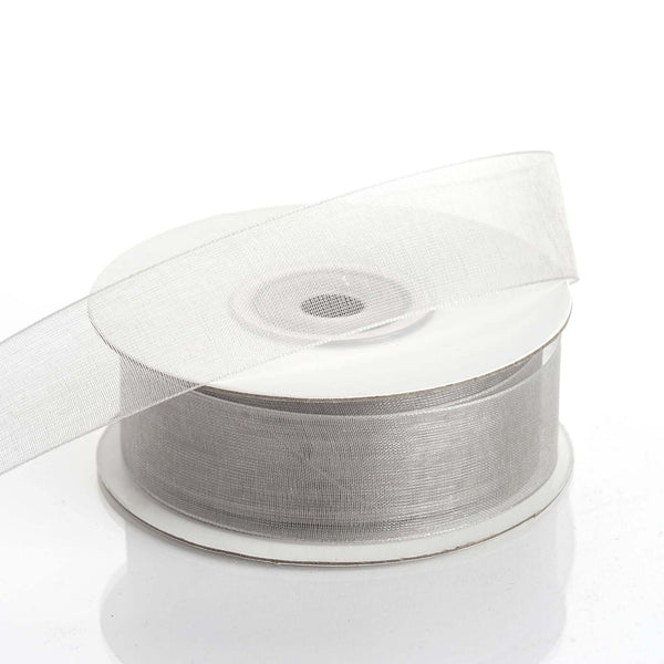 "25 Yard 7/8"" DIY Silver Organza Ribbon With Mono Edge - Clearance SALE"