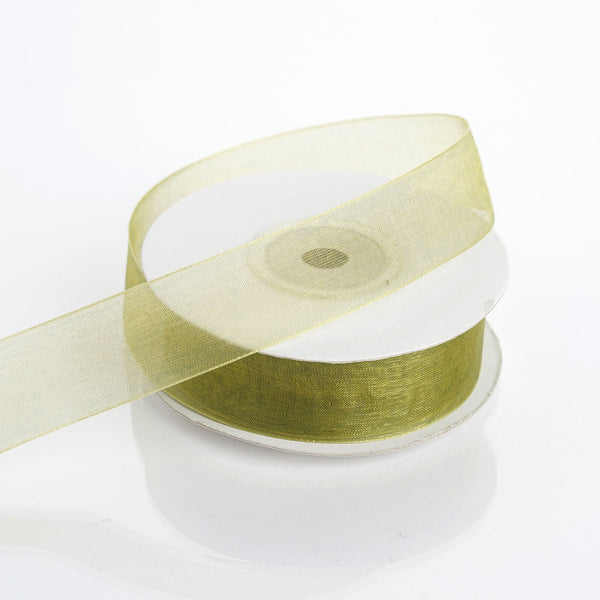 "25 Yard 7/8"" Moss Green Organza Ribbon With Mono Edge"