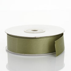 25 Yards | 7/8 Inch | Moss Green Grosgrain Ribbon | TableclothsFactory