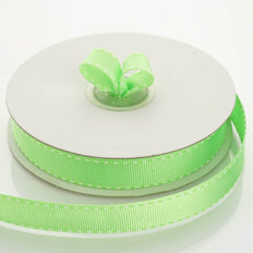 25 Yards 5/8 Inch DIY Apple Green Stitched Grosgrain Ribbon | TableclothsFactory